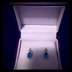 Blue Topaz & 1/10 CT. TW. Diamond Earrings